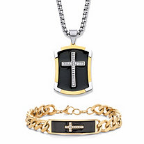 Men's Crystal and Black Enamel Two-Tone 2-Piece Cross Necklace and Bracelet Set in Gold Tone and Silvertone 24""