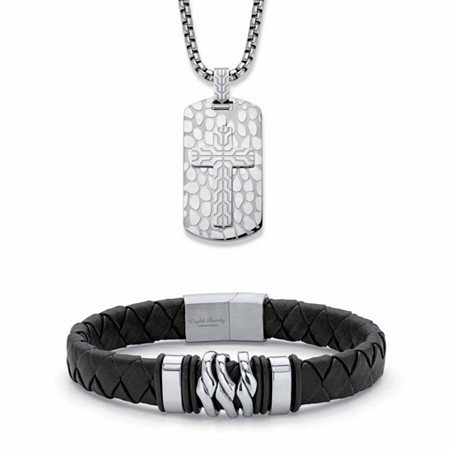 """Men's Embossed Cross Dog Tag Necklace and Black Tribal Bracelet in Stainless Steel 24"""" at Direct Charge presents PalmBeach"""