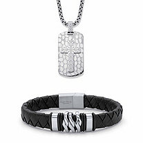 Men's Embossed Cross Dog Tag Necklace and Black Tribal Bracelet in Stainless Steel 24