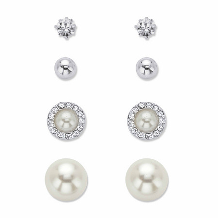 Crystal and Simulated White Pearl 5-Pair Ball Stud Earring Set in Silvertone (6mm - 12mm) at PalmBeach Jewelry