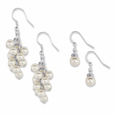 Crystal and Simulated Pearl 2-Pair Chandelier Cluster and Drop Earring Set in Silvertone (8mm) at PalmBeach Jewelry