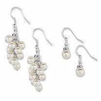 Crystal and Simulated Pearl 2-Pair Chandelier Cluster and Drop Earring Set in Silvertone (8mm)