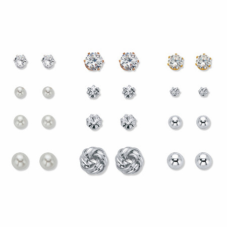Crystal, Simulated Pearl and Silvertone 12-Pair Ball and Love Knot Stud Earring Set (4mm-9.5mm) at PalmBeach Jewelry