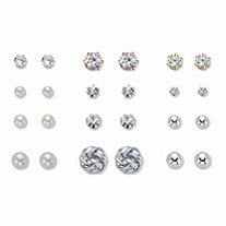 Crystal, Simulated Pearl and Silvertone 12-Pair Ball and Love Knot Stud Earring Set (4mm-9.5mm)