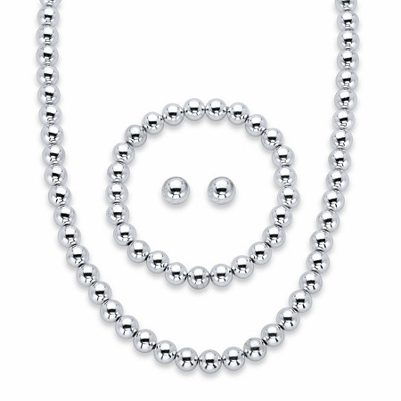 "Round Beaded 3-Piece Strand Necklace, Stud Earring and Stretch Bracelet Set in Silvertone 18""-21"" (8mm) at PalmBeach Jewelry"