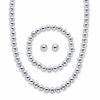 Round Beaded 3-Piece Strand Necklace, Stud Earring and Stretch Bracelet Set in Silvertone 18-21 (8mm)