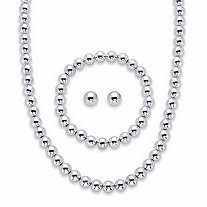 "Round Beaded 3-Piece Strand Necklace, Stud Earring and Stretch Bracelet Set in Silvertone 18""-21"" (8mm)"