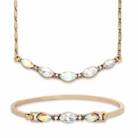 Aurora Borealis Marquise-Cut Crystal 2-Piece Barrel-Link Necklace and Bangle Bracelet Set in Goldtone 17-19