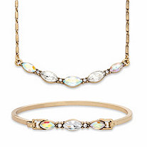 "Aurora Borealis Marquise-Cut Crystal 2-Piece Barrel-Link Necklace and Bangle Bracelet Set in Goldtone 17""-19"""
