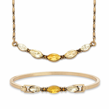 "Champagne and Canary Yellow Marquise-Cut Crystal 2-Piece Barrel-Link Necklace and Bangle Bracelet Set in Goldtone 17""-19"" at PalmBeach Jewelry"