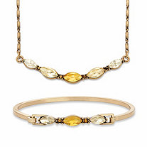 "Champagne and Canary Yellow Marquise-Cut Crystal 2-Piece Barrel-Link Necklace and Bangle Bracelet Set in Goldtone 17""-19"""
