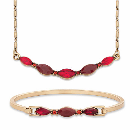 "Red Marquise-Cut Crystal 2-Piece Barrel-Link Necklace and Bangle Bracelet Set in Gold Tone 17""-19"" at PalmBeach Jewelry"