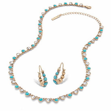 """Round Simulated Turquoise and Crystal 2-Piece Necklace and Hoop Earring Set in Gold Tone 17""""-20"""" at PalmBeach Jewelry"""