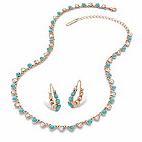 SETA JEWELRY Round Simulated Turquoise and Crystal 2-Piece Necklace and Hoop Earring Set in Gold Tone 17