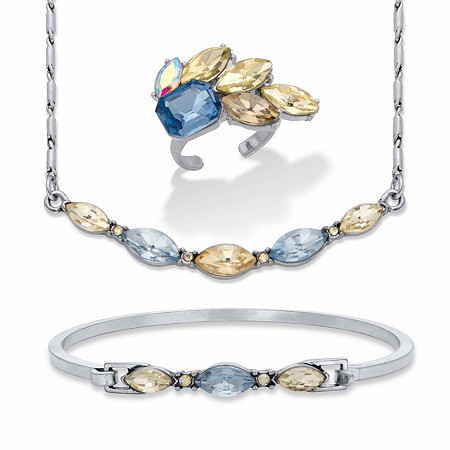 """Champagne and Aquamarine Marquise-Cut Crystal Silvertone 3-Pc. Barrel-Link Necklace, Bracelet and Cocktail Ring Bonus Set 17""""-19"""" at PalmBeach Jewelry"""