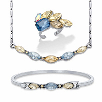 Champagne and Aquamarine Marquise-Cut Crystal Silvertone 3-Pc. Barrel-Link Necklace, Bracelet and Cocktail Ring Bonus Set 17-19