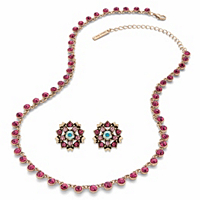 Pink, Mauve and Aurora Borealis Crystal 2-Piece Necklace and Flower Button Earring Set in Gold Tone 18-21