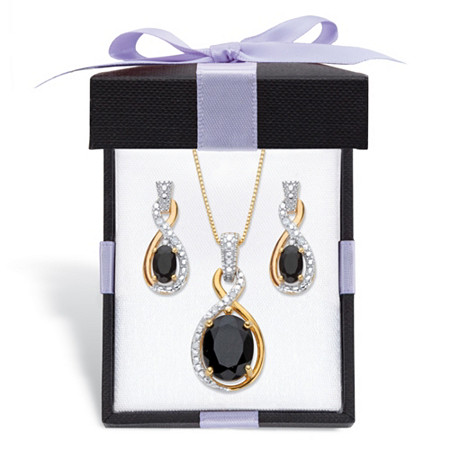 """Oval-Cut Genuine Black Onyx and Diamond Accent 18k Gold over Sterling Silver Necklace and Earring Set with FREE Gift Box 18"""" at PalmBeach Jewelry"""