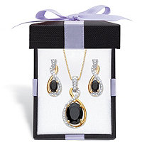 Oval-Cut Genuine Black Onyx and Diamond Accent 18k Gold over Sterling Silver Necklace and Earring Set with FREE Gift Box 18
