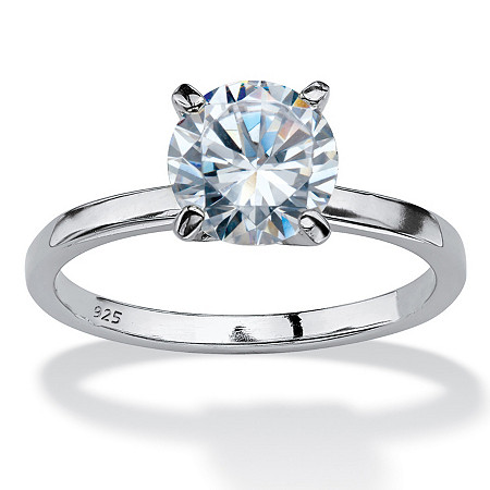 2 TCW Round Cubic Zirconia Solitaire Engagement Anniversary Ring in Sterling Silver at PalmBeach Jewelry