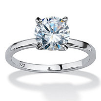 SETA JEWELRY 2 TCW Round Cubic Zirconia Solitaire Engagement Anniversary Ring in Sterling Silver