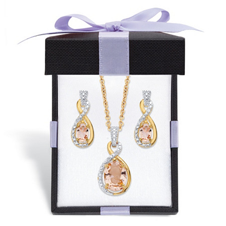 """Simulated Pink Morganite and Diamond Accent Necklace and Earring Set in 18k Gold over Sterling Silver 18"""" at PalmBeach Jewelry"""