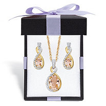 SETA JEWELRY Simulated Pink Morganite and Diamond Accent Necklace and Earring Set in 18k Gold over Sterling Silver 18
