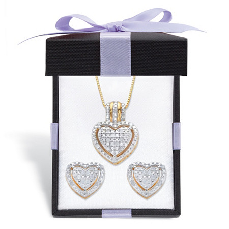 """Round Diamond Heart-Shaped Floating Halo Necklace and Earring Gift-Boxed Set 1/4 TCW in 18k Gold over Sterling Silver 18"""" at PalmBeach Jewelry"""