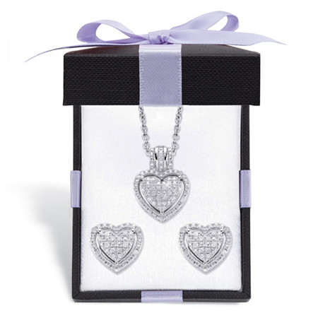"Diamond Heart-Shaped Floating Halo Cluster Necklace and Earring Set in Platinum over Sterling Silver with FREE Gift Box 18"" at PalmBeach Jewelry"