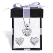 Diamond Heart-Shaped Floating Halo Cluster Necklace and Earring Set in Platinum over Sterling Silver with FREE Gift Box 18