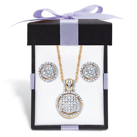 """Diamond Round Floating Halo Cluster Necklace and Earring Set in 18k Gold over Sterling Silver with FREE Gift Box 18"""" at PalmBeach Jewelry"""