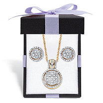 Diamond Round Floating Halo Cluster Necklace and Earring Set in 18k Gold over Sterling Silver with FREE Gift Box 18