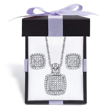 "Diamond Squared Floating Halo Cluster Necklace and Earring Set in Platinum over Sterling Silver with FREE Gift Box 18""-20"" at PalmBeach Jewelry"