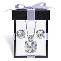 SETA JEWELRY Diamond Squared Floating Halo Cluster Necklace and Earring Set in Platinum over Sterling Silver with FREE Gift Box 18