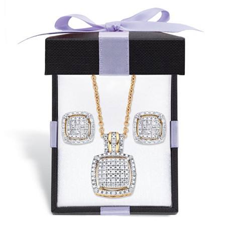 "Diamond Squared Floating Halo Cluster Necklace and Earring Set in 18k Gold over Sterling Silver with FREE Gift Box 18""-20"" at PalmBeach Jewelry"