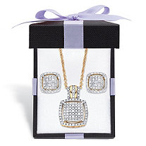 Diamond Squared Floating Halo Cluster Necklace and Earring Set in 18k Gold over Sterling Silver with FREE Gift Box 18