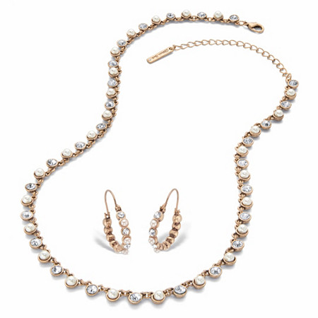 """Round Crystal and Simulated Pearl 2-Piece Necklace and Hoop Earring Set in Goldtone 18""""-21"""" (1 1/8"""") at PalmBeach Jewelry"""