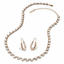 "Round Crystal and Simulated Pearl 2-Piece Necklace and Hoop Earring Set in Goldtone 18""-21"" (1 1/8"")"