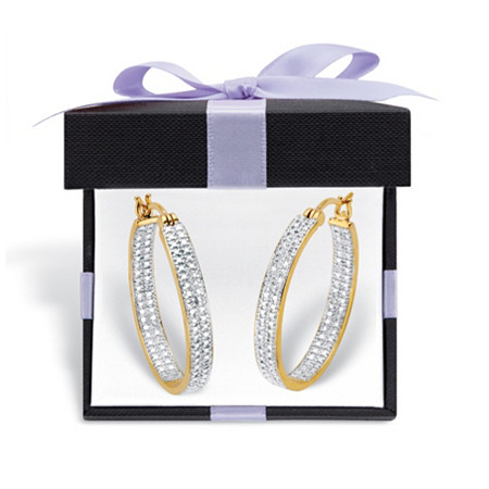 18K Yellow Gold Genuine Diamond Accent Inside Out Hoop Earrings with FREE Gift Box (33mm) at PalmBeach Jewelry