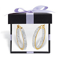 18K Yellow Gold Genuine Diamond Accent Inside Out Hoop Earrings with FREE Gift Box (33mm)