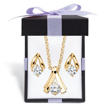 """Round Simulated Birthstone Solitaire Necklace and Earring Set in Goldtone with FREE Gift Box 18"""" at PalmBeach Jewelry"""