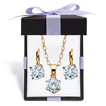 Round Simulated Birthstone Earring and Solitaire Necklace Gift-Boxed Set in Gold Tone 18