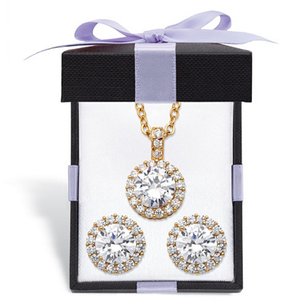 """Round Cubic Zirconia Yellow Halo Necklace and Earrings Set 6.30 TCW in Gold Tone with FREE Gift Box 18""""-20"""" at PalmBeach Jewelry"""