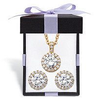 Round Cubic Zirconia Yellow Halo Necklace and Earrings Set 6.30 TCW in Gold Tone with FREE Gift Box 18