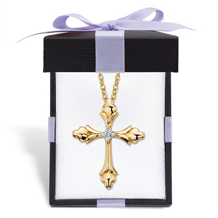"""Diamond Accent Fleur-De-Lis Pendant Necklace Gold-Plated with FREE Gift Box 18""""-20"""" at PalmBeach Jewelry"""