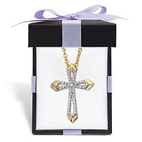 SETA JEWELRY Diamond Accent Beveled Cross Pendant Necklace with FREE Gift Box 14k Gold-Plated 18