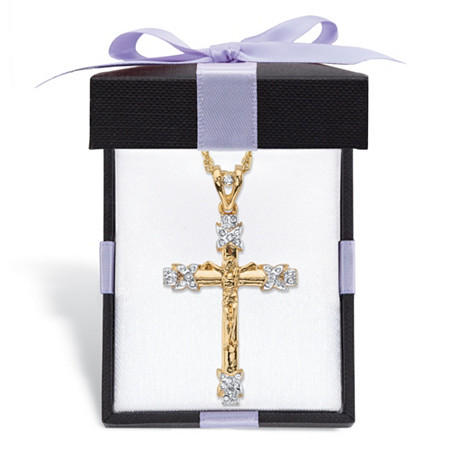 """Men's Round Crystal-Wrapped Crucifix Cross Pendant Necklace with Rope Chain in Gold Tone Includes FREE Gift Box! 24"""" at PalmBeach Jewelry"""