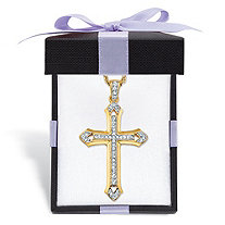 Men's Round Crystal Cross Pendant Necklace with Rope Chain in Gold Tone Includes FREE Gift Box 24
