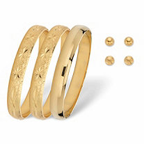 """Diamond-Cut and Polished Bangle Bracelet and Stud Earring 5-Piece Set in Gold Tone (6mm) 7.5"""""""