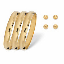 SETA JEWELRY Polished Bangle Bracelet and Stud Earring 5-Piece Set in Goldtone (6mm) 7.5